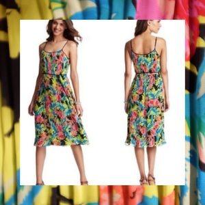 LOFT Neon Floral Midi Dress